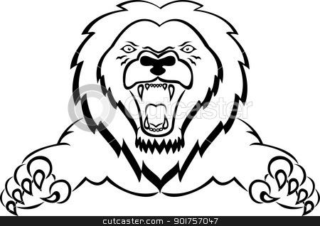 Lion attacking tattoo  stock vector clipart, Vector Illustration Of Lion attacking tattoo  by Surya Zaidan