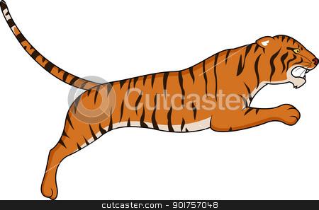 Tiger jumping stock vector clipart, Vector Illustration Of Tiger jumping by Surya Zaidan