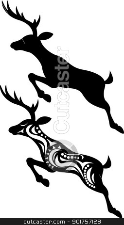Deer jumping silhouette  stock vector clipart, Vector Illustration Of Deer jumping silhouette  by Surya Zaidan