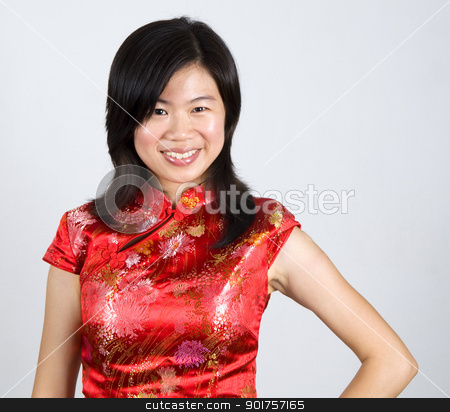 Oriental Woman. stock photo, Oriental woman in red Cheongsam. Cheongsam also known in English as a mandarin gown, is  formal wear for important occasions. Red is lucky color of Chinese, red cheongsam usually wear by during new year day or wedding. by szefei