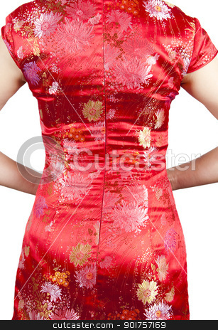 Oriental Cheongsam. stock photo, Cheongsam also known in English as a mandarin gown, is  formal wear for important occasions. Red is lucky color of Chinese, red cheongsam usually wear by during new year day or wedding. by szefei