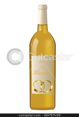Wedding stock photo, Wedding rings and yellow wine on white background by Diana