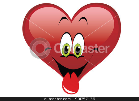 Valentines day stock photo, Big red heart and smile on white background by Diana