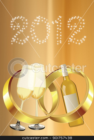 Wedding  stock photo, Wedding rings and yellow wine on yellow background by Diana