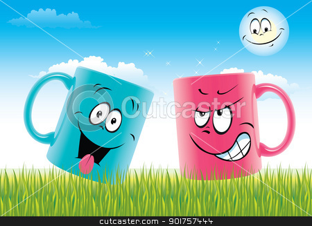 Cups smiles stock photo, Colour cups with drawing in a kind of smile  by Diana