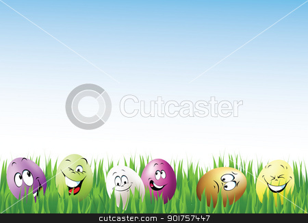 Color eggs stock photo, Color eggs and smiles for your Easter design by Diana