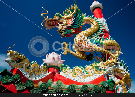 chinese dragon  stock photo, chinese dragon on oriental temple roof  by kongsky