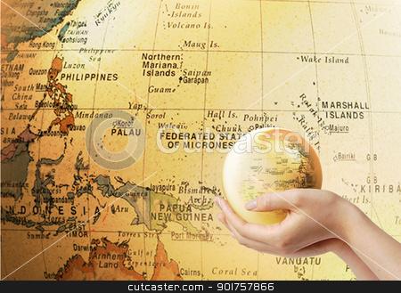 Globe stock photo, Small globe on the globe background by Diana
