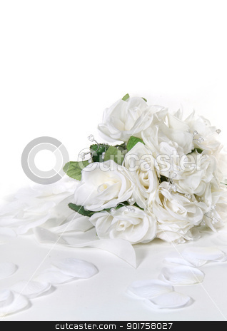 White roses stock photo, White roses on white background by Diana
