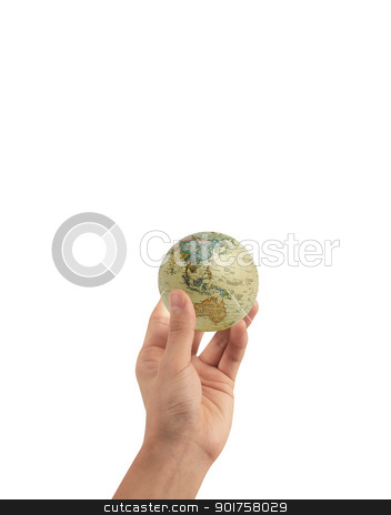 Hand and globe stock photo, Hand and globe on the sky by Diana
