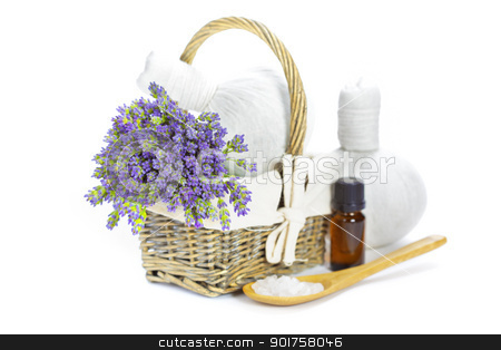 lavender spa stock photo, lavender spa (fresh lavender flowers in a basket,  essential oil, salt,  Herbal massage balls) over white by klenova