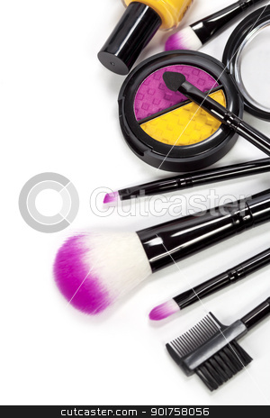 cosmetics stock photo, Decorative cosmetics isolated over white by klenova
