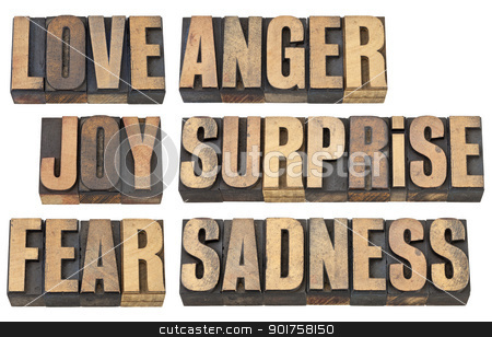 love, fear and other emotions stock photo, six basic emotions - love, fear, joy, anger, surprise and sadness - a collage of isolated words in vintage letterpress wood type by Marek Uliasz