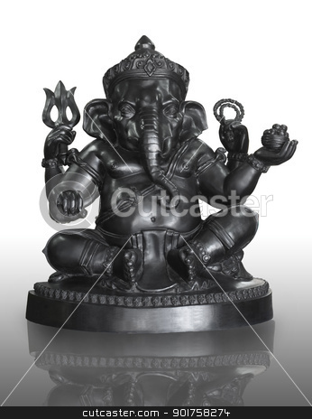 bronze statuette of hindu God Ganesha isolated on white  stock photo,  by kongsky