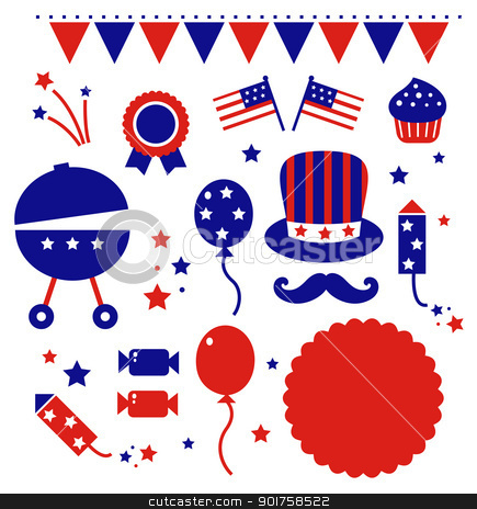 Independence day icons isolated on white stock vector clipart, 4th july icons set isolated on white. Vector by BEEANDGLOW