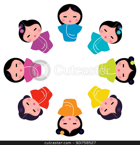 Cute japanese kokeshi dolls in circle stock vector clipart, Cartoon japanese characters. Vector illustration by BEEANDGLOW