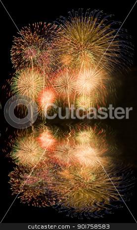 Fireworks  stock photo, Fireworks with reflections   by szefei