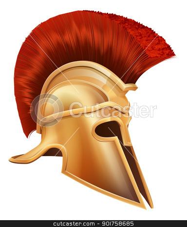 Ancient Greek Warrior Helmet stock vector clipart, Illustration of an ancient Greek Warrior helmet, Spartan helmet, Roman helmet or Trojan helmet. by Christos Georghiou