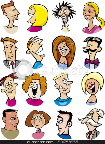 cartoon people characters and emotions stock vector clipart, cartoon illustration of different people characters and emotions by Igor Zakowski