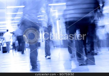 people walking in subway stock photo, motion blurred of people walking in subway   by szefei