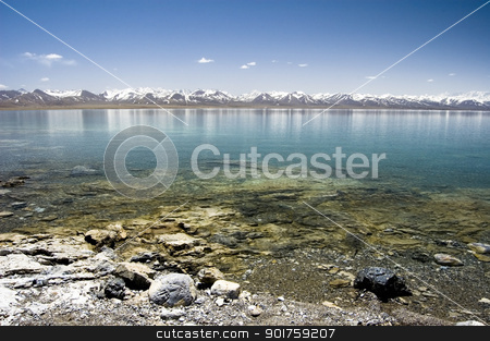 mountain lake in winter stock photo, mountain lake in winter  by szefei