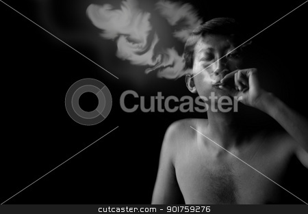 smoker stock photo, black and white portrait by szefei