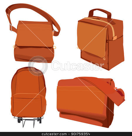 Bags Illustration stock vector clipart, Illustration of four different bags for school or leisure by simas2
