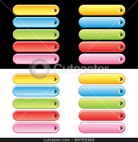 Web Plastic Button Set stock vector clipart, Colorful web button set. Easy to change colors. by simas2