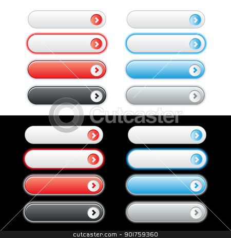 Web Plastic Button Set stock vector clipart, Red and Blue web button set with rollover options. Easy to change colors. by simas2