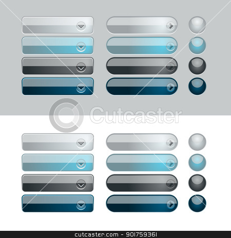 buttons_03 stock vector clipart, Blue and Black web button set. Easy to change colors. by simas2