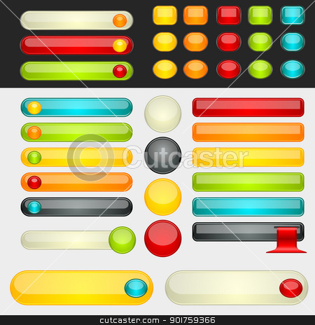 Shinny Colorful Web Buttons stock vector clipart, Colorful web button set. Global swatches included. Easy to change colors. by simas2