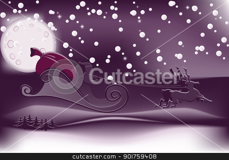 Santa Claus stock vector clipart, Illustration of Santa Claus flying on Christmas Eve by simas2