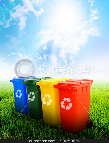 Colorful recycle bins with landscape background stock photo, Colorful recycle bins ecology concept with landscape background. by kongsky