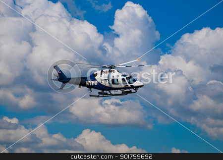 The police helicopter accompanied by Shuttle to destination in Manhattan June 06, 2012 stock photo, The police helicopter accompanied by Shuttle to destination in Manhattan June 06, 2012 by Aleksandr Davydov