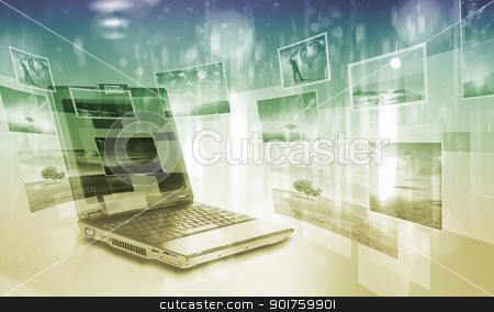Notebook against colour background with images stock photo, Notebook against colour background with various images by Sergey Nivens