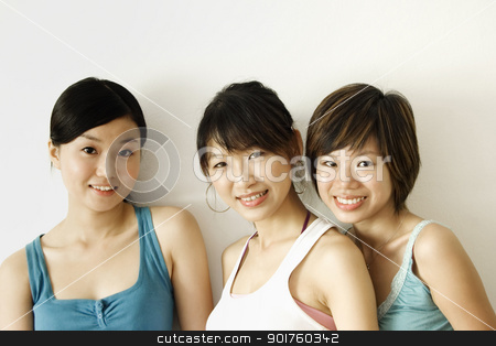 three happy girls stock photo, three happy girls by szefei