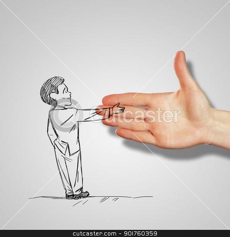 Man shaking human hand stock photo, Drawing of a man shaking human hand by Sergey Nivens