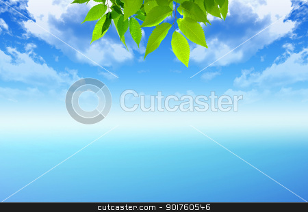Nature stock photo, Green nature on sky background by Diana