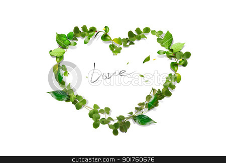 Green heart stock photo, Fresh green leaves heart by Diana