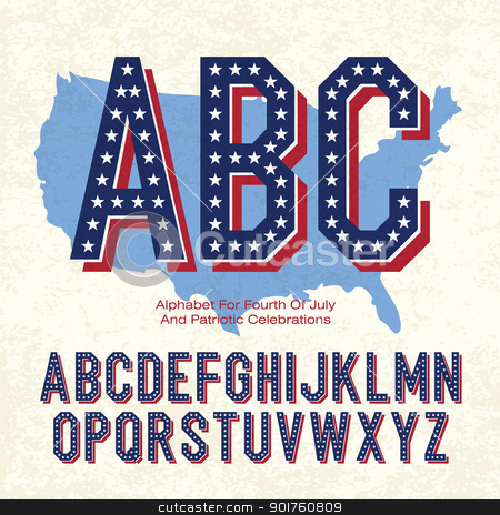 Alphabet For Fourth Of July And Patriotic Celebrations. Vector,  stock photo, Alphabet For Fourth Of July And Patriotic Celebrations. Vector, EPS10 by pashabo