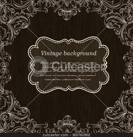 Vintage Frame Design On Wooden Background For Greeting Card. Vec stock photo, Vintage Frame Design On Wooden Background For Greeting Card. Vector, Eps10. by pashabo