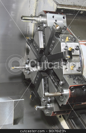 cnc machine tools in the work  stock photo, close up cnc machine tools in the work  by yoshiyayo
