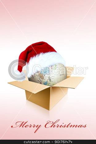 Merry Christmas and globe stock photo, Merry Christmas and globe in box by Diana