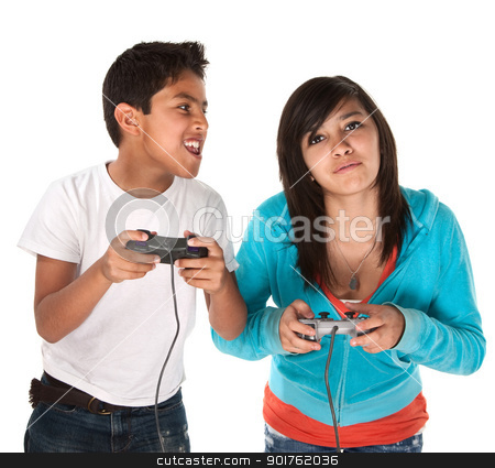 Kids Playing Video Games stock photo, Two young cute Hispanic kids playing video games by Scott Griessel