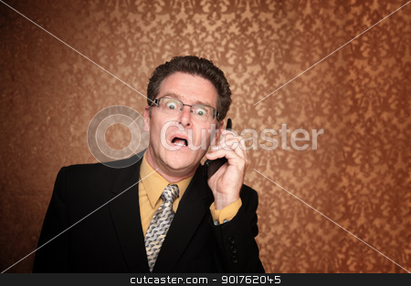 Overwhelmed Businessman stock photo, Shocked Middle-Aged Business Man Isolated on a Paisley Background by Scott Griessel