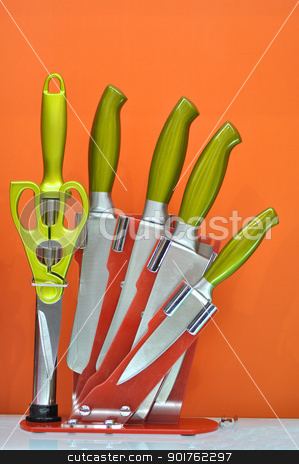 knife set  stock photo, orange knife set collection with different usage,  by momo_leif
