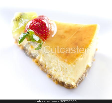 Passion fruit cheese cake slice stock photo, Freshly homemade passion fruit cheese cake slice by szefei