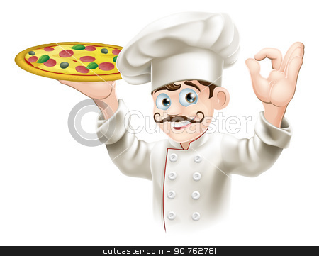 Cook holding a tasty pizza stock vector clipart, A happy cook from a pizzeria or Italian restaurant holding a pizza by Christos Georghiou