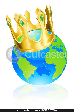 King of the world concept stock vector clipart, World globe wearing a crown, king of the world or champion concept  by Christos Georghiou