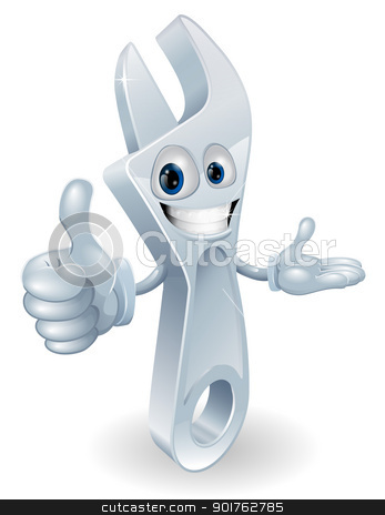 Adjustable spanner mascot illustration stock vector clipart, Adjustable spanner cartoon character giving a thumbs up graphic by Christos Georghiou